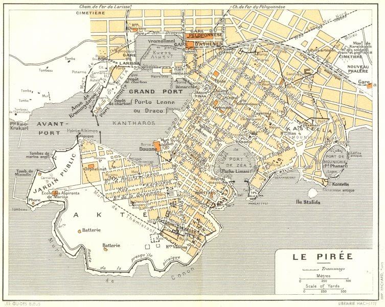 PIRAEUS vintage town city plan. Le Pirée. Athens. Greece 1956 old vintage map