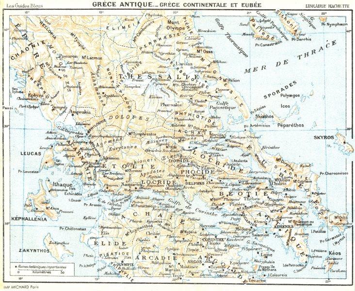 Associate Product ANCIENT GREECE. Mainland & Euboea. Grèce. Eubee 1956 old vintage map chart