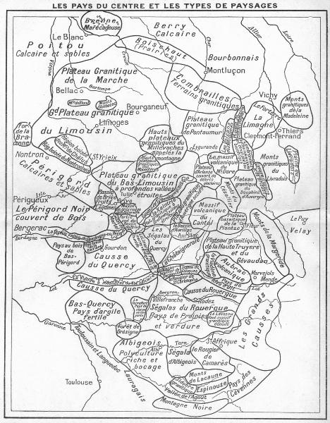 Associate Product FRANCE. Pays du Centre types de Paysages 1935 old vintage map plan chart