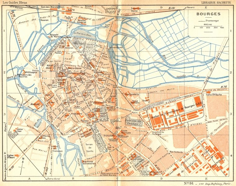 Associate Product CHER. Bourges 1935 old vintage map plan chart