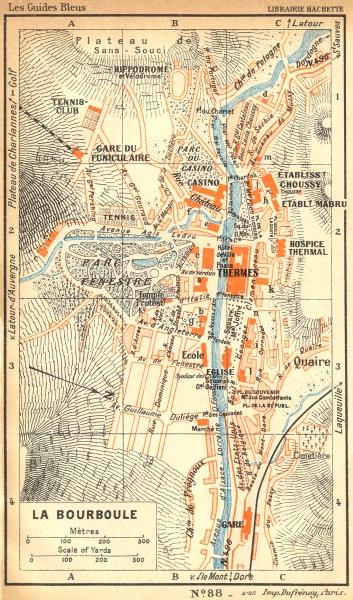 Associate Product PUY-DE-DÔME. Bourboule 1935 old vintage map plan chart