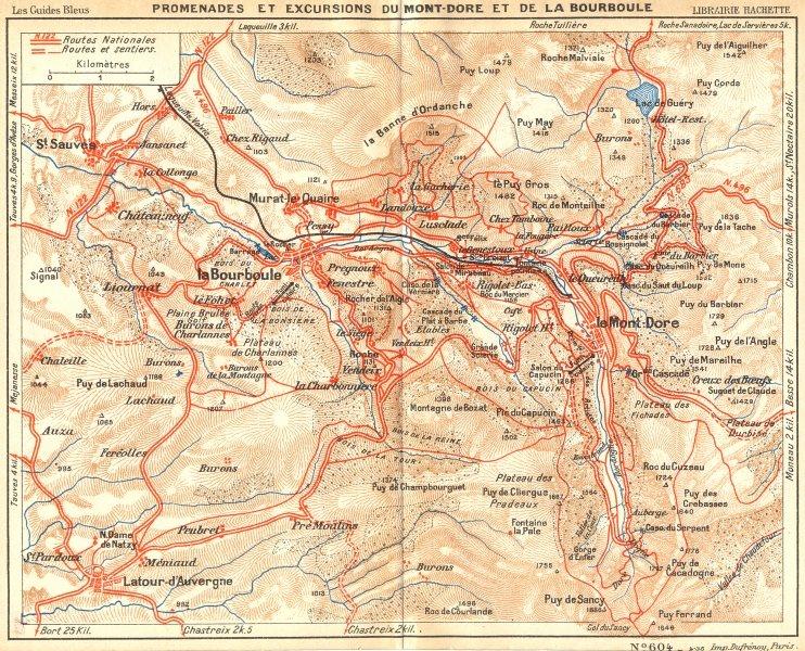 Associate Product PUY-DE-DÔME. Du Mont-Dore Bourboule 1935 old vintage map plan chart