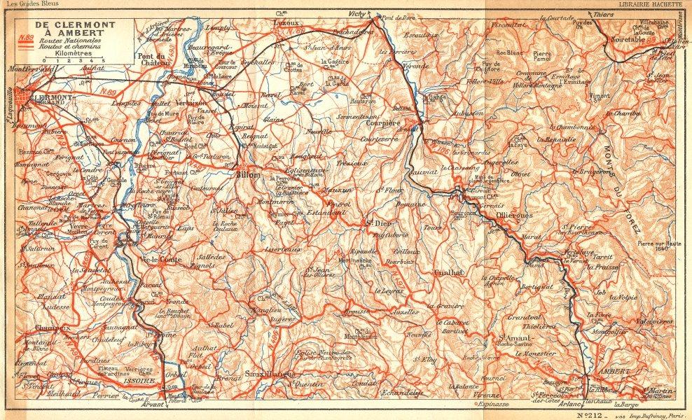 Associate Product PARIS. De Clermont a Ambert 1935 old vintage map plan chart