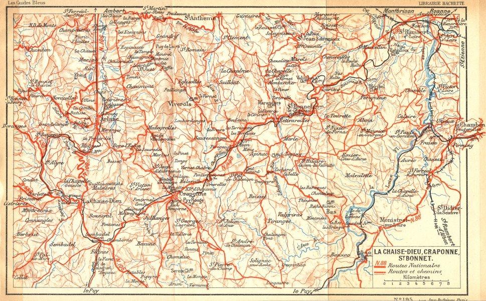 Associate Product PARIS. Chaise-Dieu, Craponne, St Bonnet 1935 old vintage map plan chart