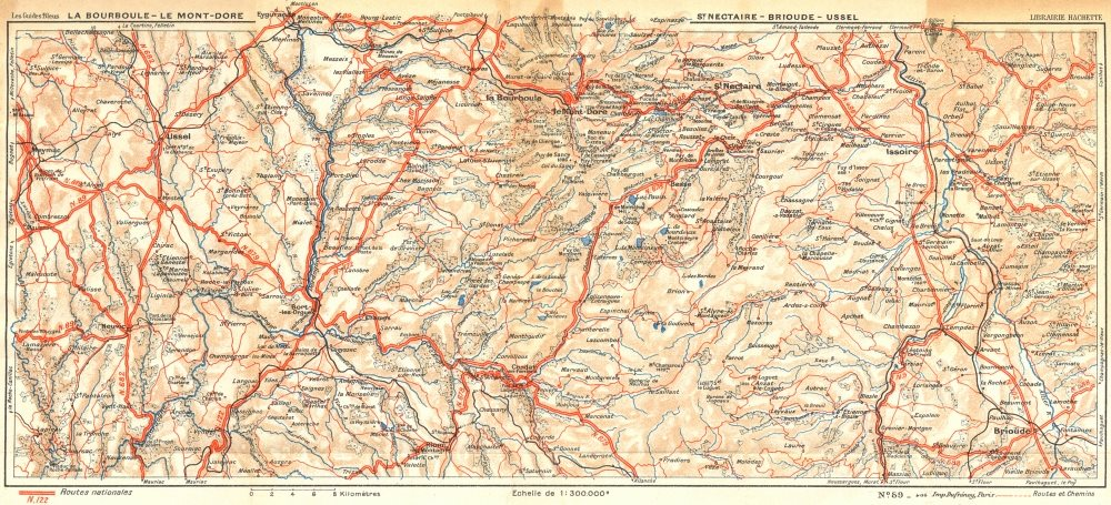 Associate Product BOURBOULE. Mont-Dore; St Nectaire-Brioude-Ussel 1935 old vintage map chart