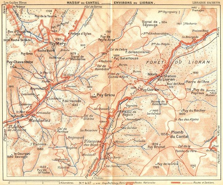 Associate Product CANTAL. Massif du area Lioran 1935 old vintage map plan chart