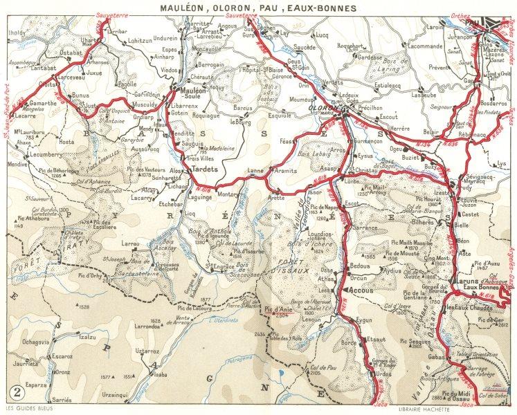 Associate Product PAU. Mauleon, Oloron, Eaux-Bonnes 1959 old vintage map plan chart