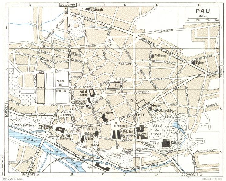 Associate Product PYRÉNÉES-ATLANTIQUES. Pau 1959 old vintage map plan chart