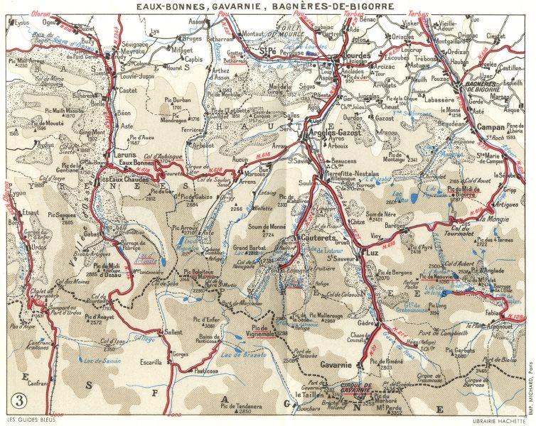 Associate Product PYRÉNÉES-ATL. Eaux-Bonnes, Bagneres-Bigorre 1959 old vintage map plan chart