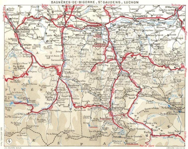 Associate Product PYRÉNÉES. Bagneres-Bigorre, St Gaudens, Luchon 1959 old vintage map plan chart
