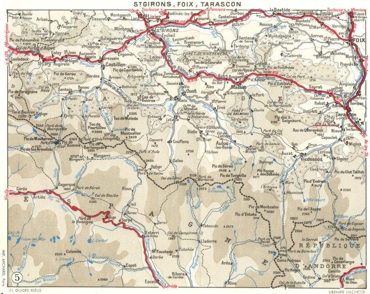 Associate Product ARIÈGE. St Girons, Foix, Tarascon 1959 old vintage map plan chart
