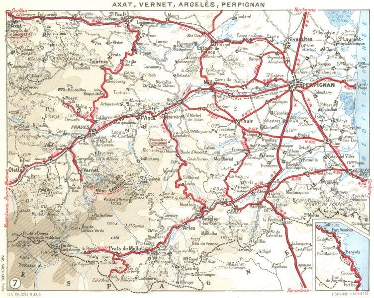 Associate Product PERPIGNAN. Axat, Vernet, Argeles 1959 old vintage map plan chart