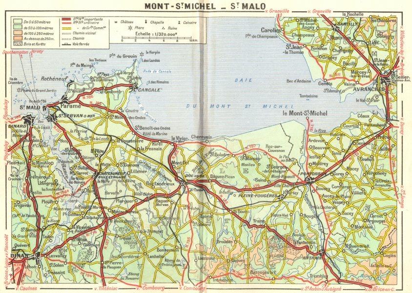 Associate Product ILLE-VILAINE. Mont-St Michael-Malo 1948 old vintage map plan chart