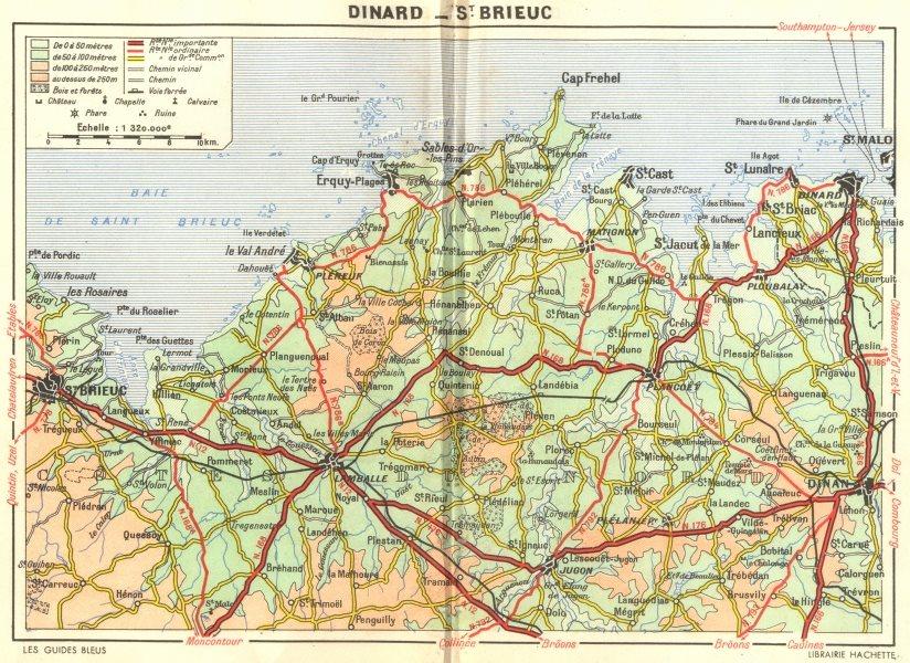 Associate Product ILLE-VILAINE. De Dinard a St-Brieuc 1948 old vintage map plan chart