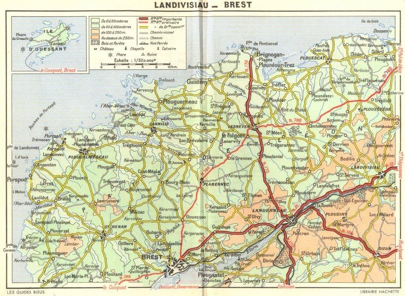 BREST. Cote Leon St-Pol-Conquet. Landivisiau  1948 old vintage map plan chart