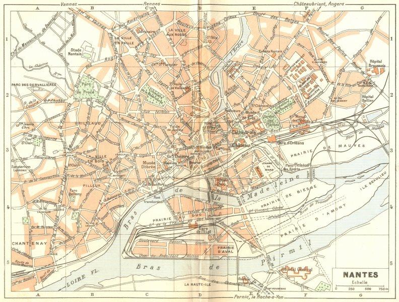 Associate Product LOIRE-ATLANTIQUE. Nantes 1948 old vintage map plan chart