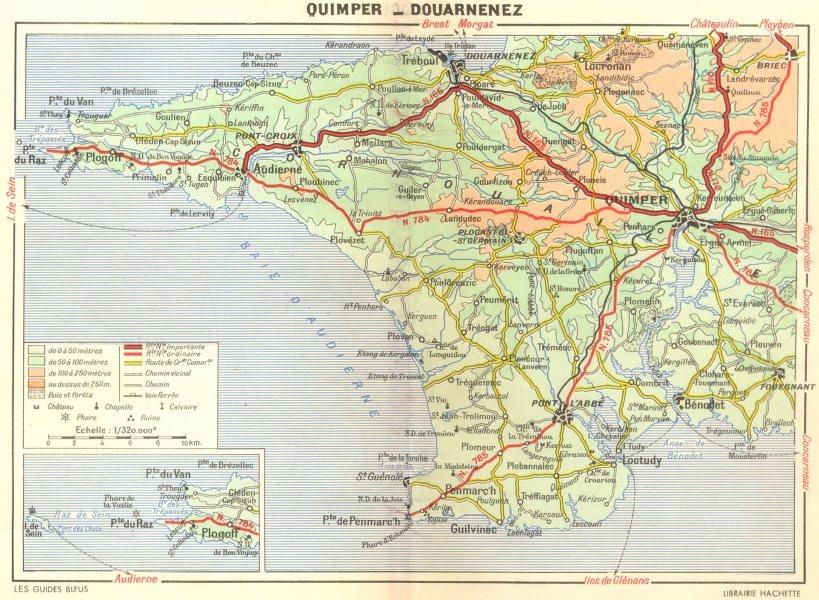 Associate Product QUIMPER. Pointe du Raz. Douarnenez 1948 old vintage map plan chart