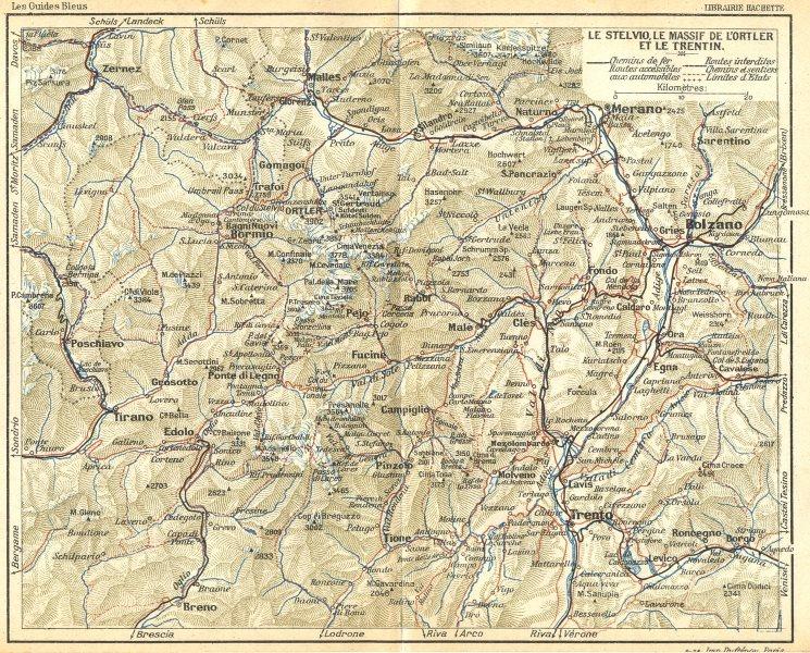 Associate Product STELVIO. Suldental. Massif de Lortler Trentin 1914 old antique map plan chart