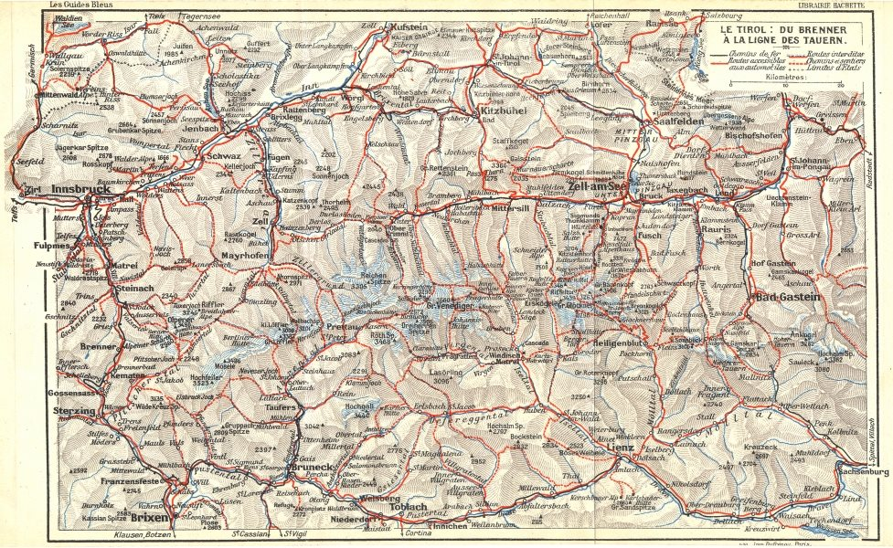 Associate Product AUSTRIA. Tirol. Du Brenner a Ligne Tauern 1914 old antique map plan chart