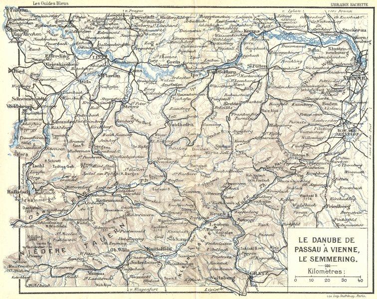 Associate Product AUSTRIA. Danube de Passa a Vienne, Semmering 1914 old antique map plan chart