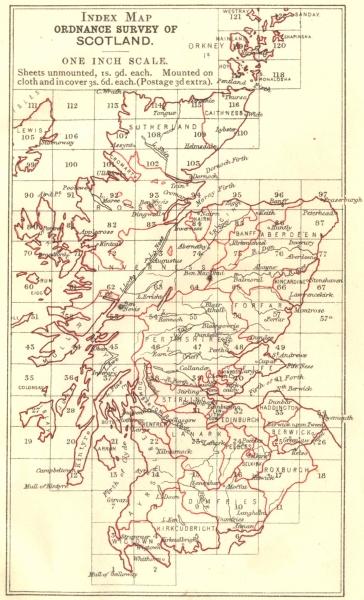 Associate Product SCOTLAND. Index map Ordnance survey 1887 old antique vintage plan chart