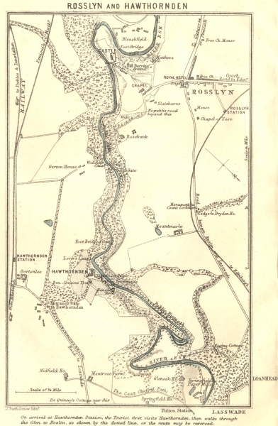 Associate Product SCOTLAND. Rosslyn & Hawthornden 1887 old antique vintage map plan chart
