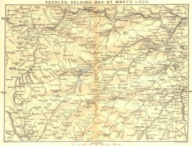 Associate Product SCOTLAND. Peebles Selkirk & St Mary's Loch. Moffat & Hawick 1887 old map