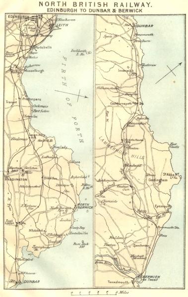 Associate Product NORTH BRITISH RAILWAY. Edinburgh to Dunbar & Berwick-upon-Tweed 1887 old map