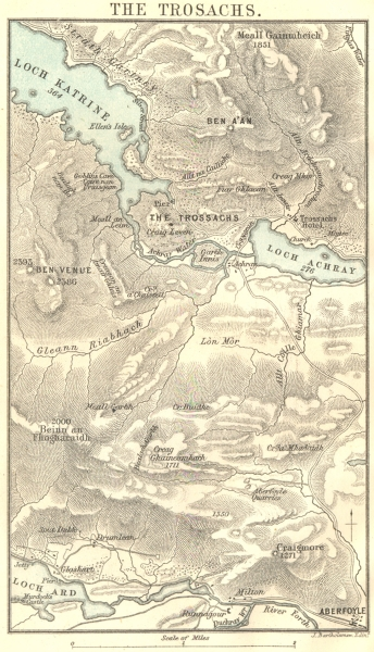 Associate Product SCOTLAND. The Trossachs Trosachs. Loch Katrine & Loch Achray 1887 old map