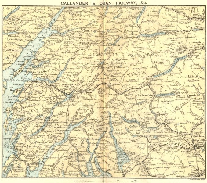 Associate Product SCOTLAND. Callander & Oban Railway 1887 old antique vintage map plan chart