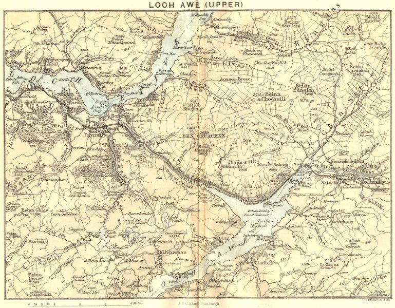 Associate Product SCOTLAND. Loch Awe(Upper) 1887 old antique vintage map plan chart
