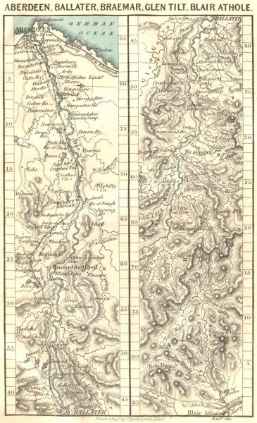 Associate Product ABERDEEN. Ballater, Braemar, Tilt, Blair Athole 1887 old antique map chart