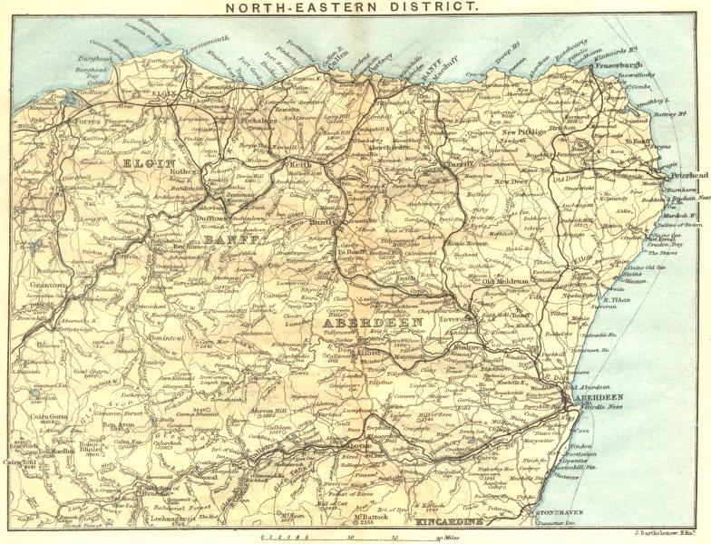 Associate Product SCOTLAND. North-east District. Banff Elgin Aberdeen Kincardine 1887 old map