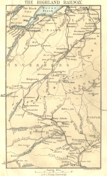 Associate Product SCOTLAND. The Highland Railway. Inverness Perth Elgin 1887 old antique map