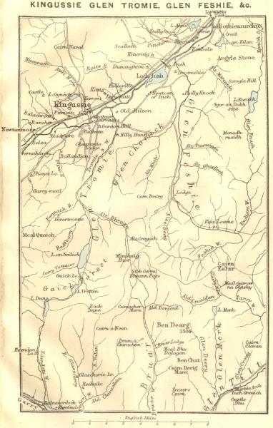 Associate Product SCOTLAND. Kingussie Glen Tromie, Feshie 1887 old antique map plan chart