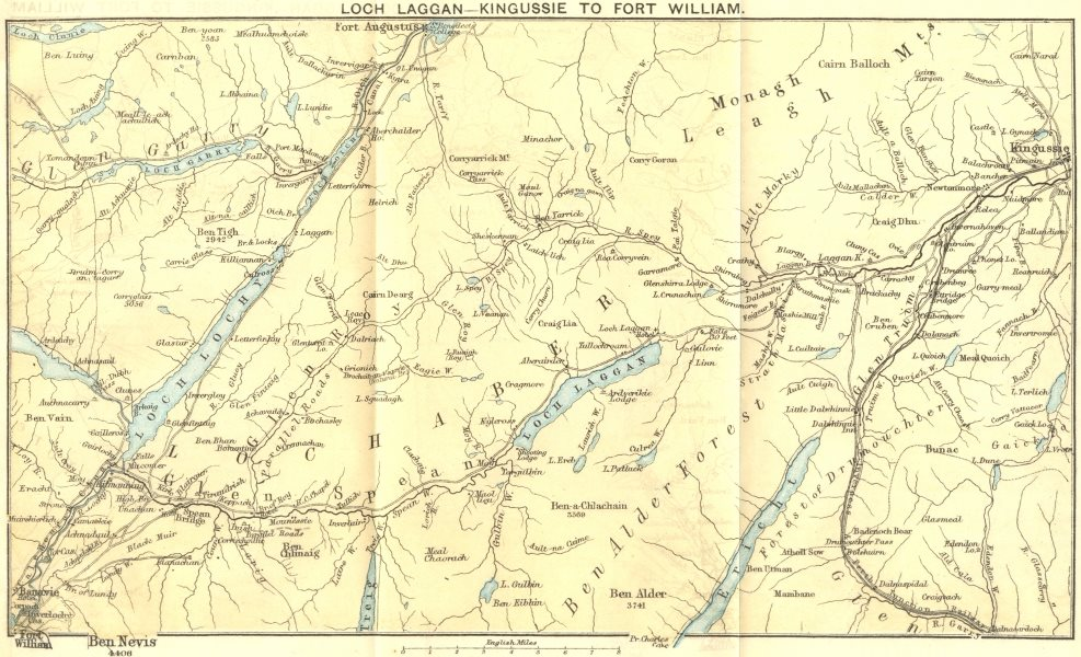 Associate Product SCOTLAND. Loch Laggan-Kingussie to Fort William 1887 old antique map chart