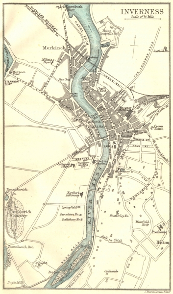 Associate Product SCOTLAND. Inverness town plan 1887 old antique vintage map chart