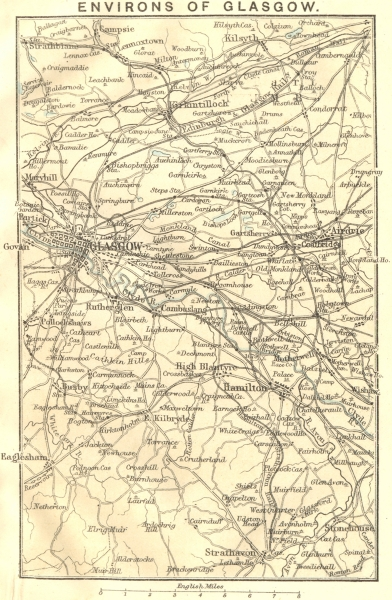 Associate Product SCOTLAND. Glasgow environs. Airdrie Hamilton Kirkintilloch Strathblane 1887 map