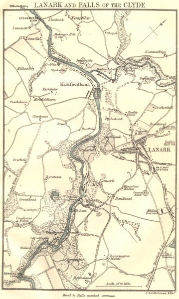 Associate Product SCOTLAND. Lanark & the falls of Clyde. 1887 old antique vintage map plan chart