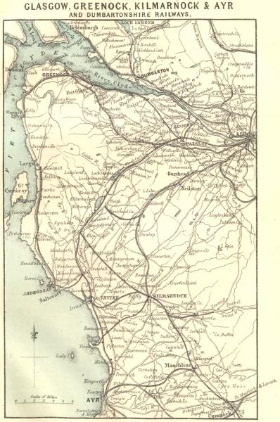 Associate Product FIRTH OF CLYDE. Glasgow Greenock Kilmarnock Ayr Dumbartonshire Railway 1887 map