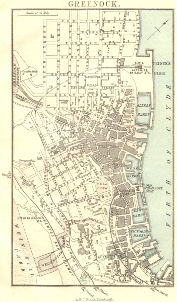 Associate Product SCOTLAND. Greenock town plan 1887 old antique vintage map chart