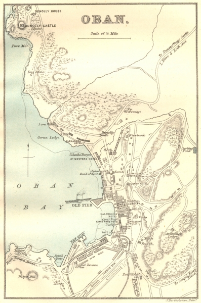 Associate Product SCOTLAND. Oban town plan & bay 1887 old antique vintage map chart