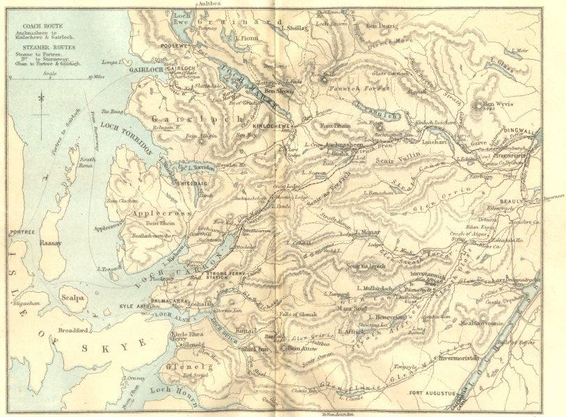 Associate Product SCOTLAND. Dingwall & Skye Railway  1887 old antique vintage map plan chart