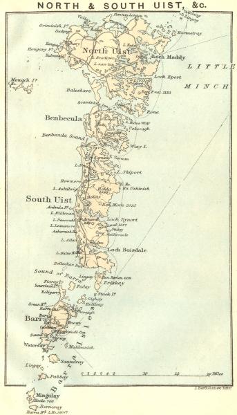 SCOTLAND. North & South Uist. Barra 1887 old antique vintage map plan chart