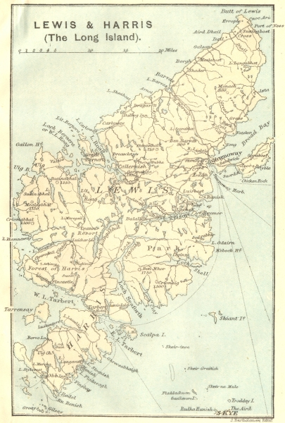 Associate Product SCOTLAND. Lewis & Harris (The Long Island) 1887 old antique map plan chart