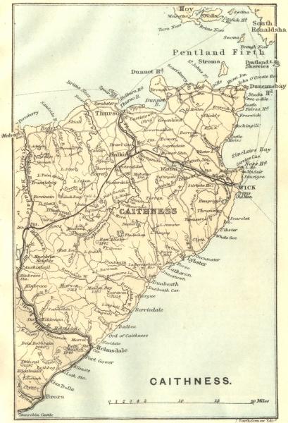 Associate Product CAITHNESS. Pentland Firth. Thurso. Scotland 1887 old antique map plan chart
