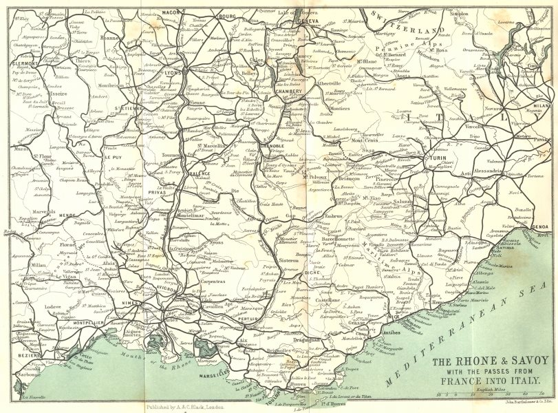 Associate Product RHONE. & Savoy passes from France into Italy 1913 old antique map plan chart