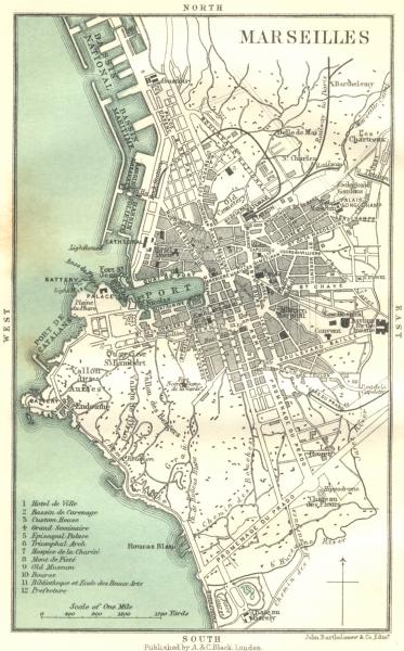 Associate Product BOUCHES-DU-RHÔNE. Marseilles. general plan 1913 old antique map chart