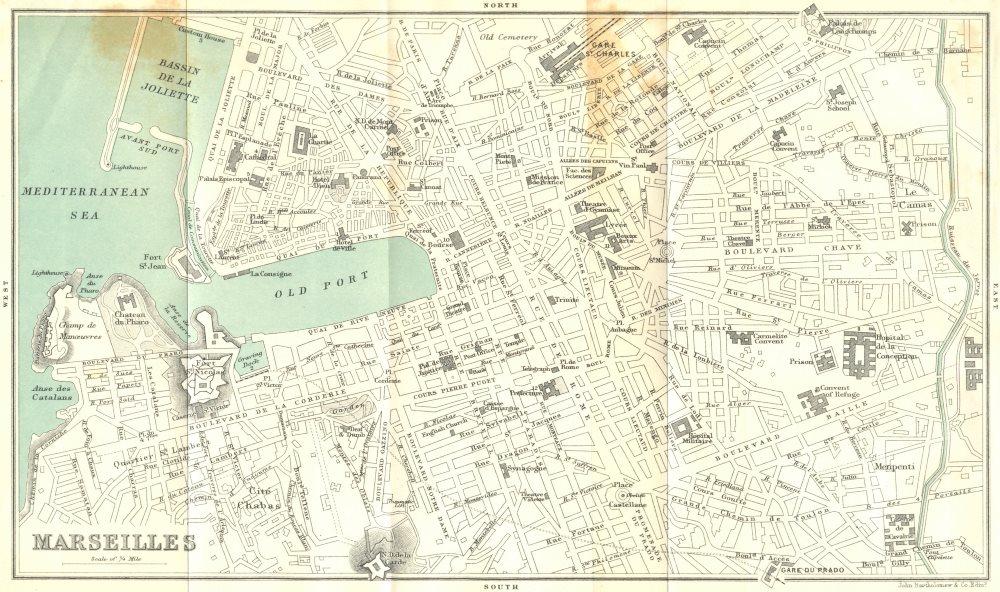 Associate Product BOUCHES-DU-RHÔNE. Marseilles. central area 1913 old antique map plan chart