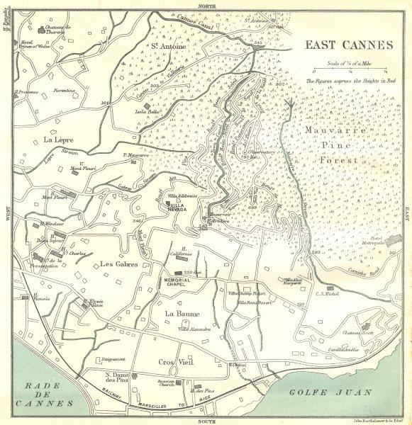 Associate Product ALPES-MARITIMES. Cannes. East 1913 old antique vintage map plan chart